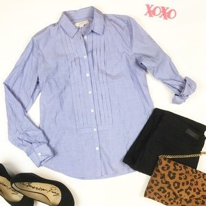 Loft blue button down shirt with pleats size S